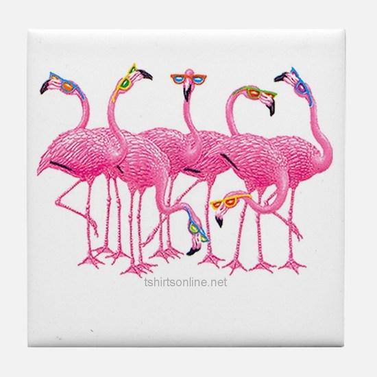 Cute Flamingos Tile Coaster