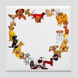 Dog Heart Tile Coaster