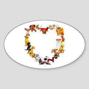Dog Heart Oval Sticker