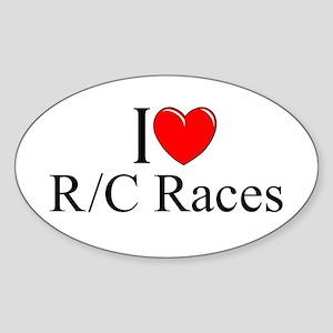 """I Love (Heart) R/C Races"" Oval Sticker"