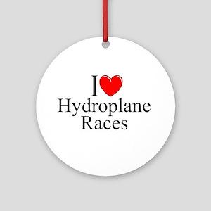 """I Love (Heart) Hydroplane Races"" Ornament (Round)"