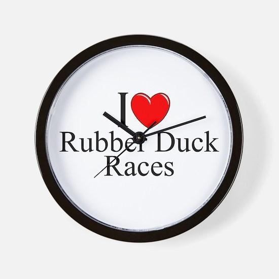 """I Love (Heart) Rubber Duck Races"" Wall Clock"