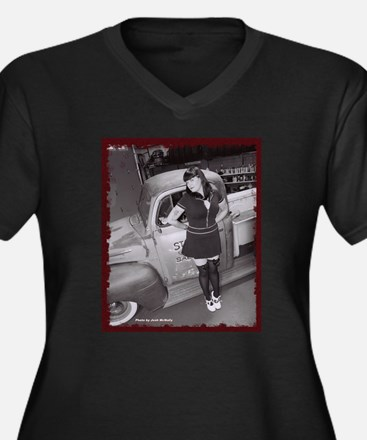 Cool Retro pin up hot rod Women's Plus Size V-Neck Dark T-Shirt