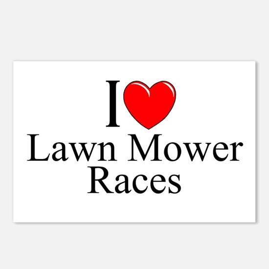 """""""I Love (Heart) Lawn Mower Races"""" Postcards (Packa"""