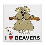 I Love Beavers Tile Coaster