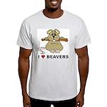 I Love Beavers Ash Grey T-Shirt
