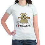 I Love Beavers Jr. Ringer T-Shirt