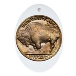 Nickel Buffalo Oval Ornament