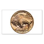 Nickel Buffalo Rectangle Sticker 10 pk)