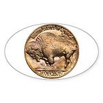 Nickel Buffalo Oval Sticker (10 pk)