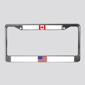 Candian & USA Flags License Plate Frame