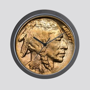 Nickel Indian Head Wall Clock