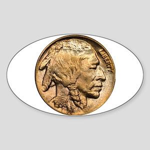 Nickel Indian Head Oval Sticker