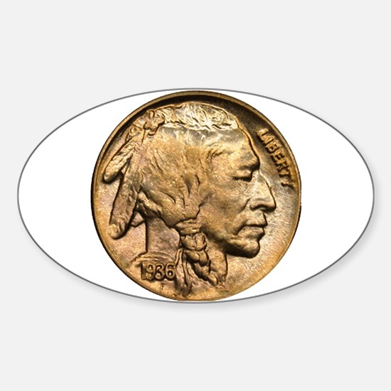 Nickel Indian Head Oval Decal