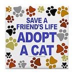 Save life, cat. Tile Coaster