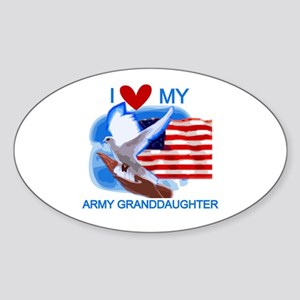Love My Army Granddaughter Oval Sticker