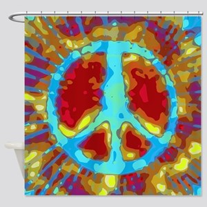 Trippy Tie Dye Peace Sign Shower Curtain
