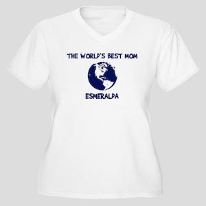 ESMERALDA - Worlds Best Mom Women's Plus Size V-Ne