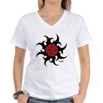 Mystic River Swirling Sun Women's V-Neck T-Shirt