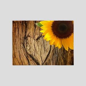 tree heart country sunflower 5'x7'Area Rug