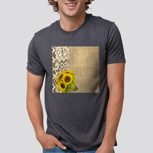 lace burlap western country sunflower T-Shirt