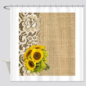 lace burlap western country sunflow Shower Curtain