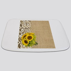 lace burlap western country sunflower Bathmat