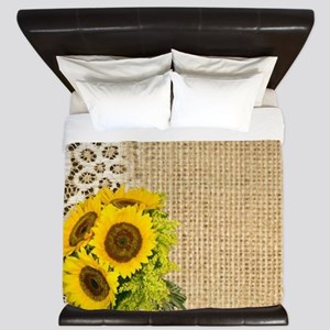 lace burlap western country sunflower King Duvet