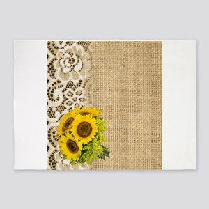 lace burlap western country sunflow 5'x7'Area Rug