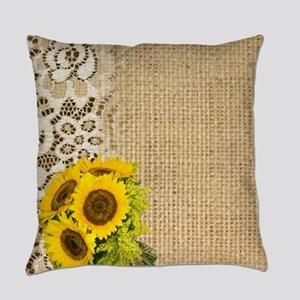 lace burlap western country sunflo Everyday Pillow
