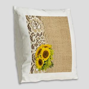 lace burlap western country su Burlap Throw Pillow