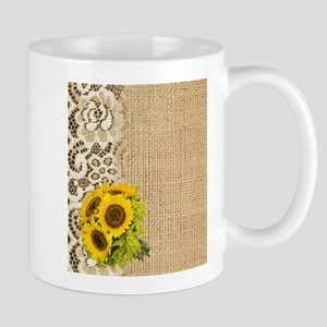 lace burlap western country sunflower Mugs