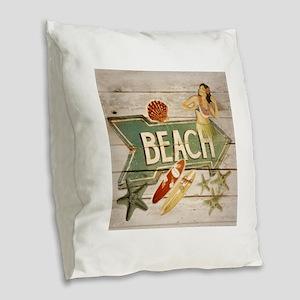 surfer beach sailor starfish Burlap Throw Pillow