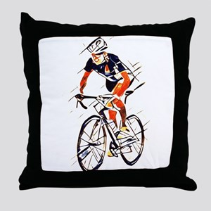 cyclist Throw Pillow