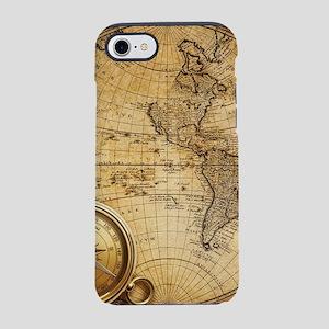 voyage compass vintage world iPhone 8/7 Tough Case