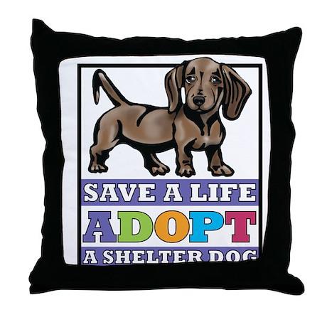 Dachshund Rescue Throw Pillow