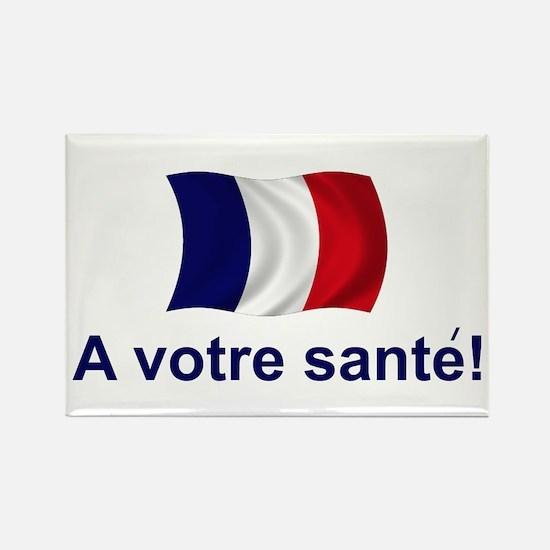 French A Votre Sante Rectangle Magnet