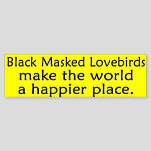 Happy Place Black Masked Lovebird Bumper Sticker