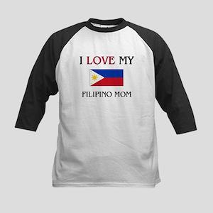 I Love My Filipino Mom Kids Baseball Jersey