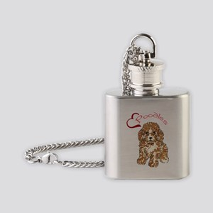 Love Poodles Flask Necklace