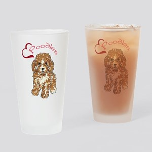 Love Poodles Drinking Glass