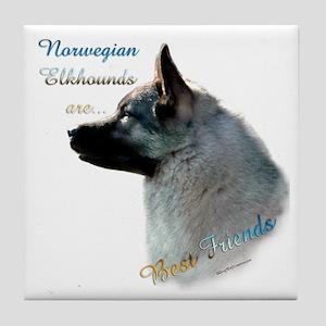 Elkhound Best Friend 1 Tile Coaster