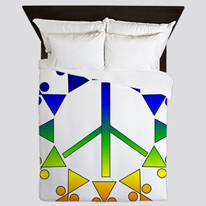 Rainbow Peace Spiral Queen Duvet