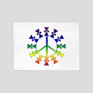 Rainbow Peace Spiral 5'x7'Area Rug