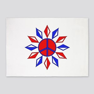 Red, White, And Blue Peace 5'x7'Area Rug