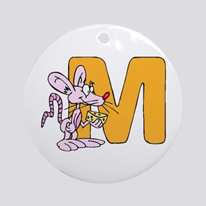 M is for Mouse Ornament (Round)