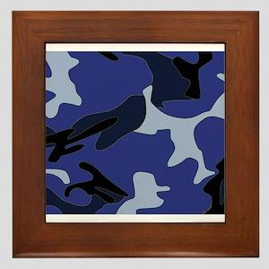 Blue Camo Framed Tile
