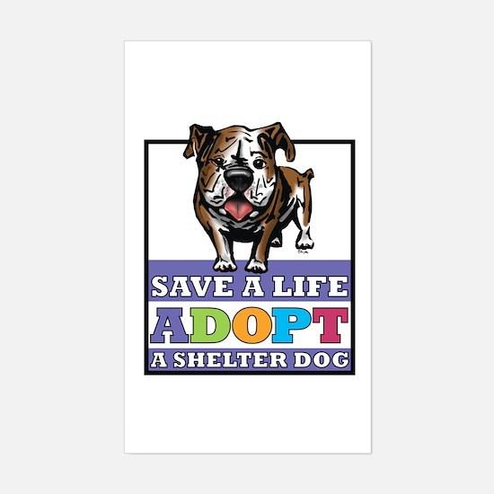 Adopt a Bulldog Rectangle Decal