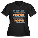 Common Hopes Women's Plus Size V-Neck Dark T-Shirt