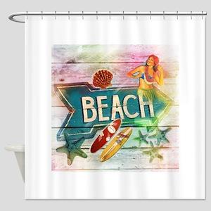 rainbow surfer beach hawaiian Shower Curtain